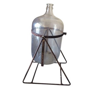 Vintage Five Gallon Glass Water Jug on Swivel