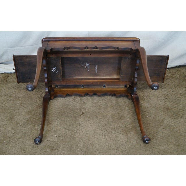 Statton Solid Cherry Queen Anne Style Tea Table - Image 8 of 10