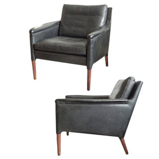 Pair of Kai Lyngfeldt Larsen Leather Chairs