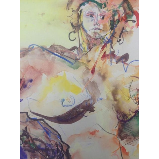 Vintage Mixed Media Painting of a Female Nude - Image 4 of 10