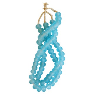 Jumbo Azure/Mediterranean Blue Glass Beads - a Pair