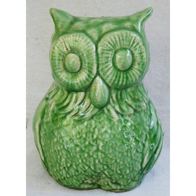 Mid-Century Italian Green Terracotta Owl - Image 2 of 9