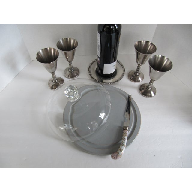 Silver-Plate Glasses/Coaster & Cheese Dome - 7 - Image 4 of 10