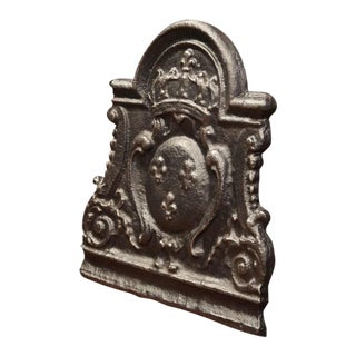 Mid-18th Century Iron Fireback With Crown and Coat of Arms of Kingdom of France