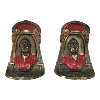 Art Deco Metal Dante Bookends - A Pair