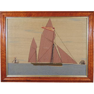 "Sailor's Woolwork or Woolie Picture of A Lowestoft Lugger, ""The Young James"", Circa 1875."