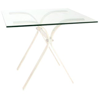 Aluminum Side Table with Glass Top