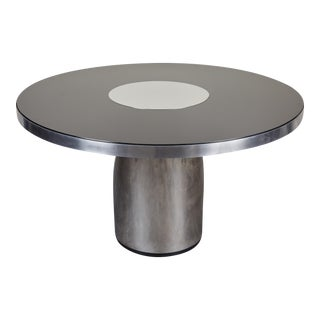 Brueton Style Round Hall Steel Table Glass
