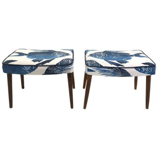 Danish Modern Benches with Tropical Upholstery, Pair