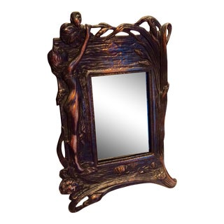 Copper Art Nouveau Vanity Mirror