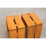 Image of Charlotte Perriand Solid Pine Stools for Les Arcs - Pair