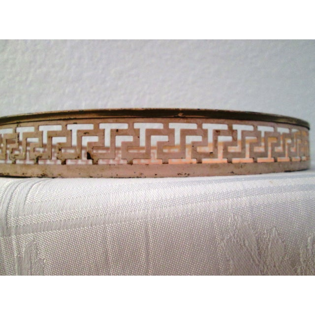 Vintage Tole Painted Pink Greek Key Tray - Image 7 of 7
