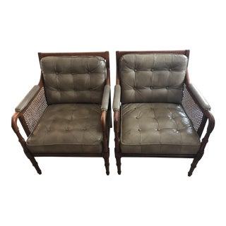 Bamboo-Style Club Chairs - A Pair
