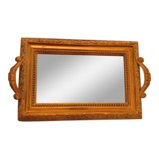 Carved Wood & Mirror Based Tray