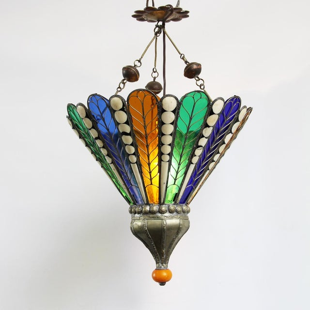 Moroccan Brass & Glass Lantern - Image 4 of 4