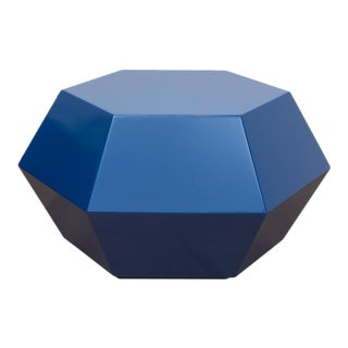 Lacquered Navy Faceted Cocktail Table
