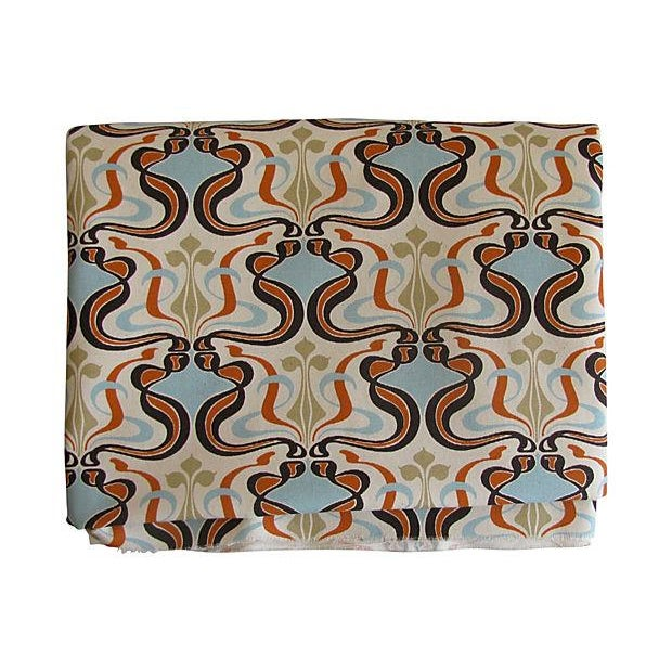 Image of MCM Fabric in Turquoise, Orange, & Brown 4.9 Yards