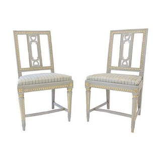Gustavian Chairs in Gold & Gray - A Pair