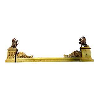 19th C. French Cast Brass & Bronze Fireplace Fender With Griffins