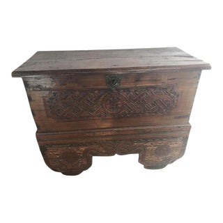 Wooden Trunk on Wheels With Carving and Original Aged Paint