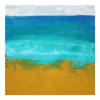 Abstract Landscape Blue Turquoise Yellow Ochre Beach Ocean Water by Paul Ashby