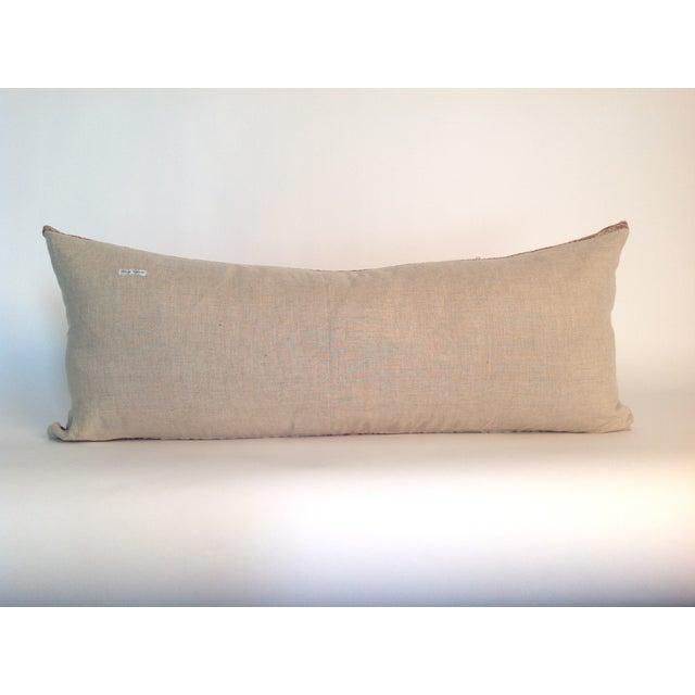 Vintage Block Printed Pink Kantha Quilt Pillow - Image 3 of 3