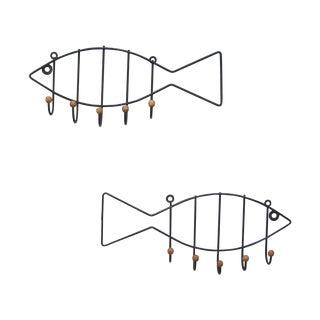 Vintage Pair Iron & Wood Fish Coat Hooks - 2