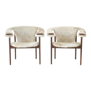Rare Set of Adrian Pearsall Lounge Chairs Reupholstered in Brazilian Cowhide