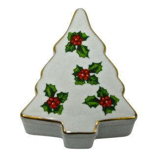 Christmas Tree & Holy Porcelain Trinket Box