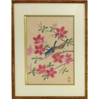 Vintage Japanese Birds Wood-Block Print