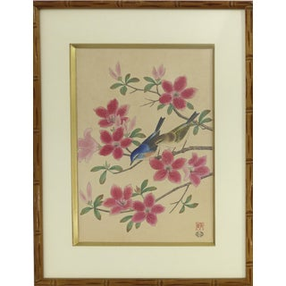 Vintage Japanese Birds Wood-Block Print