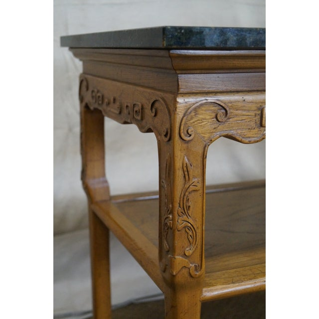 Baker Furniture Carved Teak Chinese Style Granite Top Console Table - Image 9 of 10