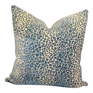 "1 - 22"" X 22""Cowtan & Tout Zanzibar, Teal Animal Print Throw Pillow"