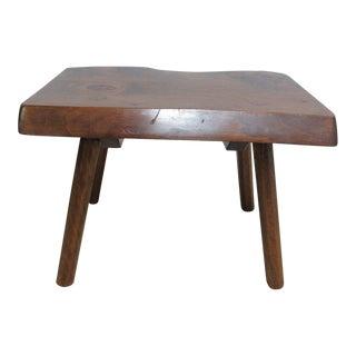 Vintage Mid Century Adirondack Free Form Slab Wood End Table