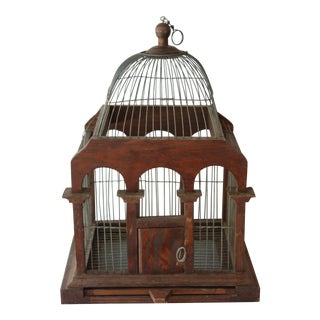 Cathedral Style Wood & Wire Birdcage