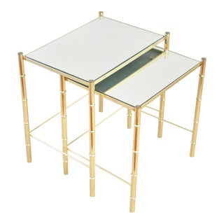 Faux Bamboo Brass & Mirror Nesting Side Tables - a Pair