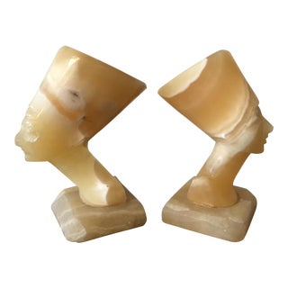 Carved Onyx Bookends Queen Nefertiti - A Pair