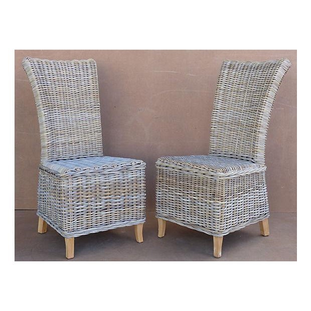 Rattan Wicker High Back Dining Chairs - Set of 6 | Chairish