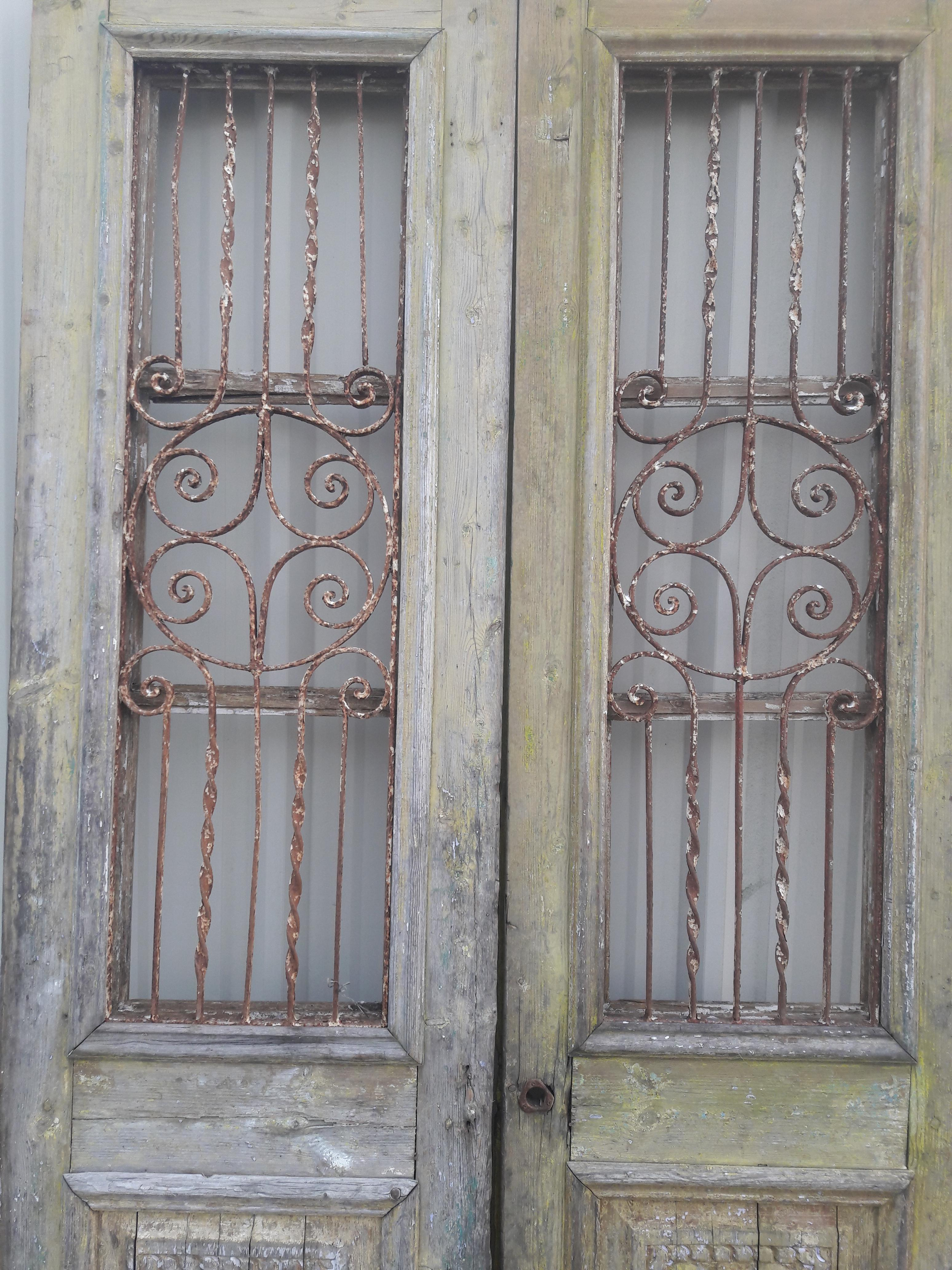 Antique French Iron Grill Door Rustic Farmhouse Natural Doors - a Pair - Image 3 of  sc 1 st  Chairish & Antique French Iron Grill Door Rustic Farmhouse Natural Doors - a ... pezcame.com