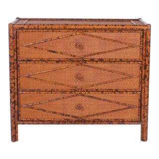 Pair of Three-Drawer Bamboo Chests