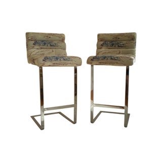 Pace Collection Chrome Bar Stools - Pair