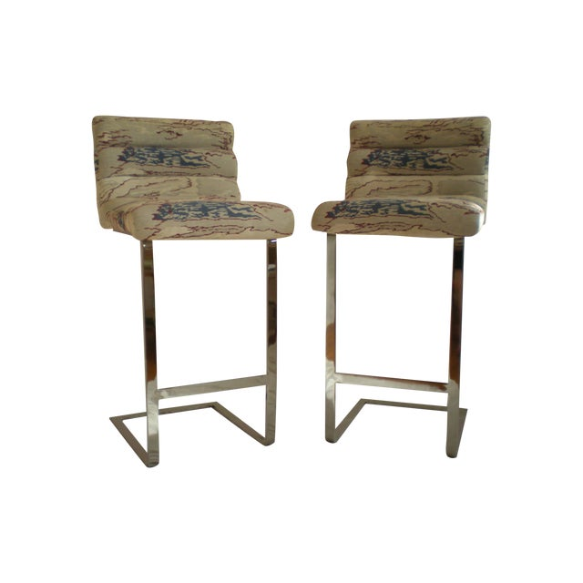 Image of Pace Collection Chrome Bar Stools - Pair
