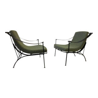 Pair of Wrought Iron and Fabric Lounge Chairs by Russell Woodard