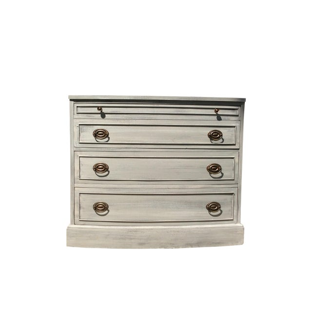 Distressed Grey Bowfront Federal Style Chest - Image 1 of 9