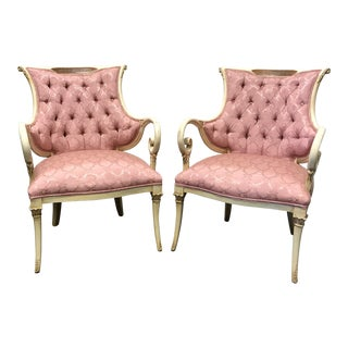 Pink Tufted Upholstery Carved Fireside Chairs - A Pair