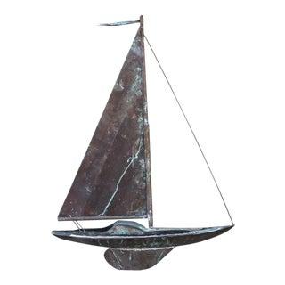 19th c. New England Folk Art Copper Sailboat Weather Vane