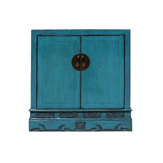 Chinese Distressed Rustic Blue Foyer Console Table Cabinet