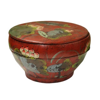 Chinese Antiques Redone Red Color Round Wood Container Bucket Lotus Flower Painting
