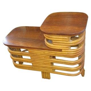 Mid-Century Modern Rattan step Table Paul Frankl