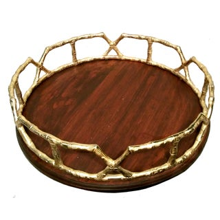 Wood Tray with Brass Bamboo Handles